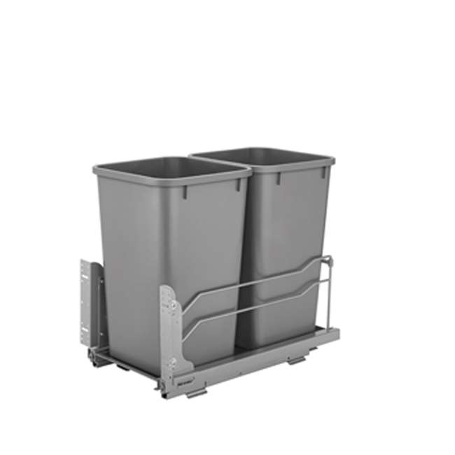 53WC-2150SCDM-217 Rev A Shelf 50 Quart Pull Out Sliding Double Waste Trash Container Bin, Silver