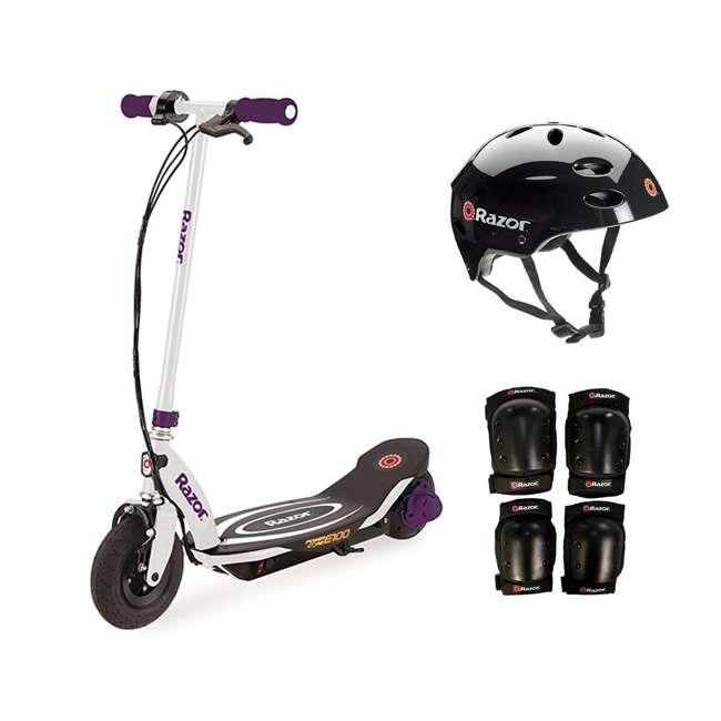 13111211 + 97778 + 96784 Razor E100 Electric Motorized Scooter, With Child Helmet, Elbow & Knee Pad Set