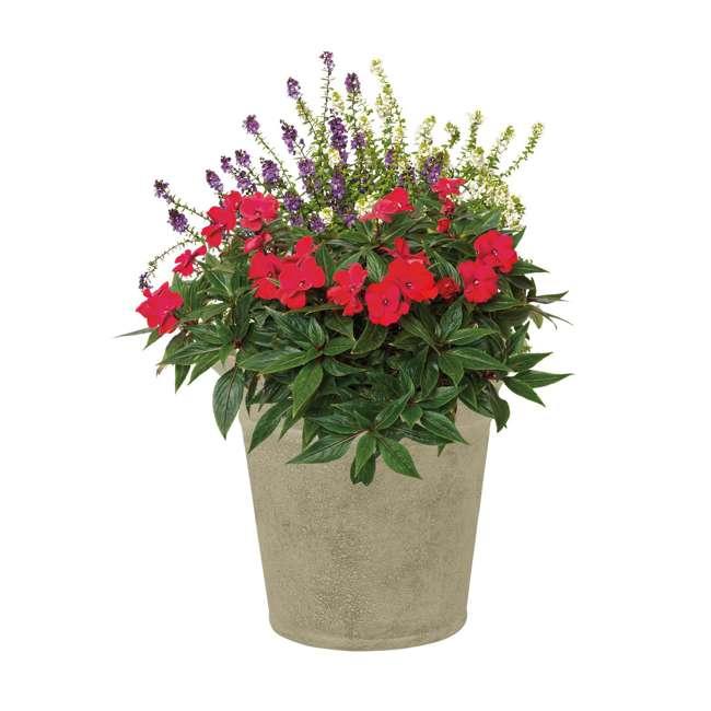 1613S2-2PK-U-A Suncast Langston 16 Inch Round Flower Pot Planters, Vanilla (2 Pack) (Open Box) 1