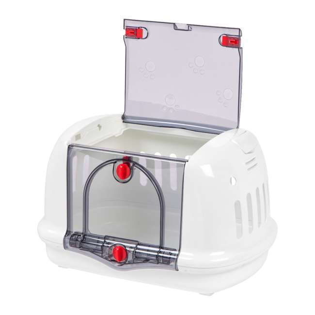301991 IRIS USA 301991 See-Through Small Animal Pet Carrier with Carry Handle, White 2