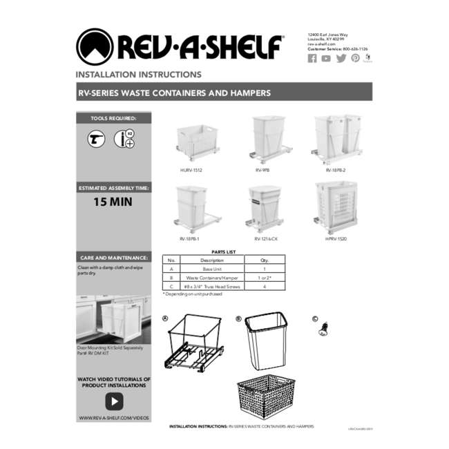 RV-18PB-1-20 Rev-A-Shelf RV-18PB-1 Single 35 Quart Base Cabinet Pull Out Waste Container 2