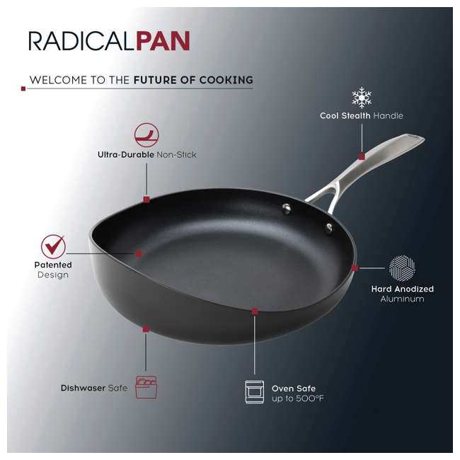 RD-1PAN-HA-3.5-BL-8 Rad USA Hard-Anodized Non-Stick 8.5-Inch Radical Cooking Pan w/ Stay Cool Handle 1