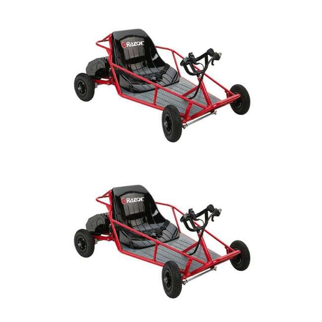 25143511 Razor Dune Buggy 25143511 Electric Powered Runner Kids Car Go Cart, Red (2 Pack)