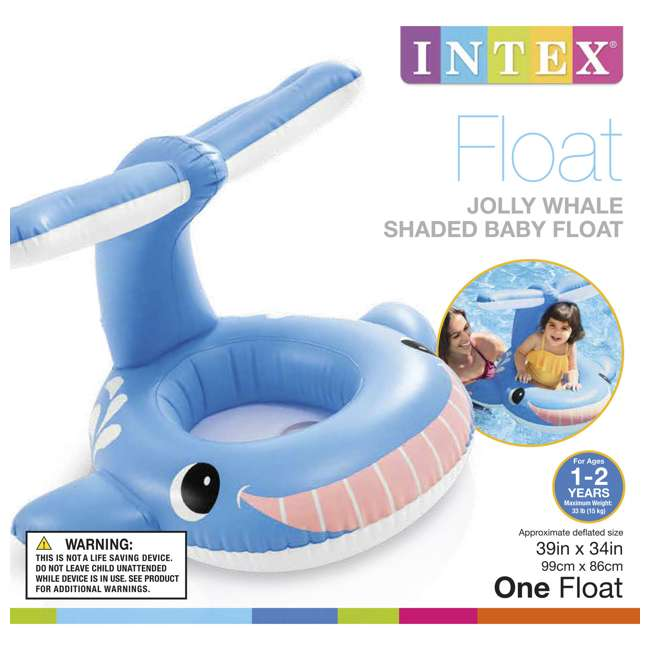 56591EP Intex 5651EP Inflatable Jolly Whale Shaded Baby and Toddler Float for Ages 1-2 2