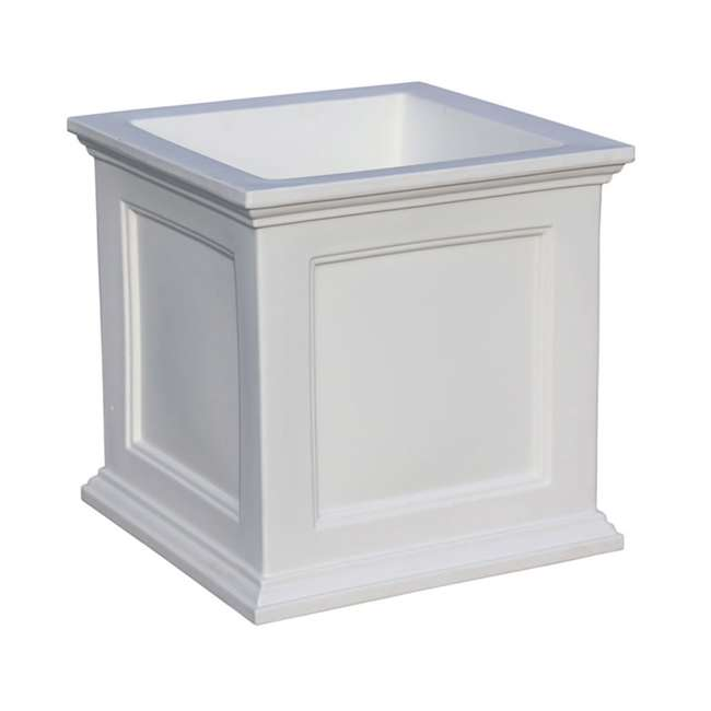 MO-5825-W Mayne Fairfield Large 20 In Square Plastic Outdoor Flower Pot Planter Box, White 1