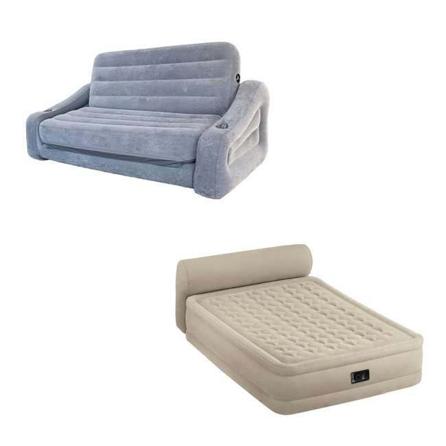 Intex Queen Inflatable Pull Out Sofa Air Mattress Queen Airbed