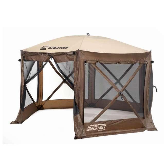 CLAM-PV-9882 + CLAM-PV-FLOOR-12878 Clam Quickset Pavilion Camper Brown Tent and Floor Tarp 1