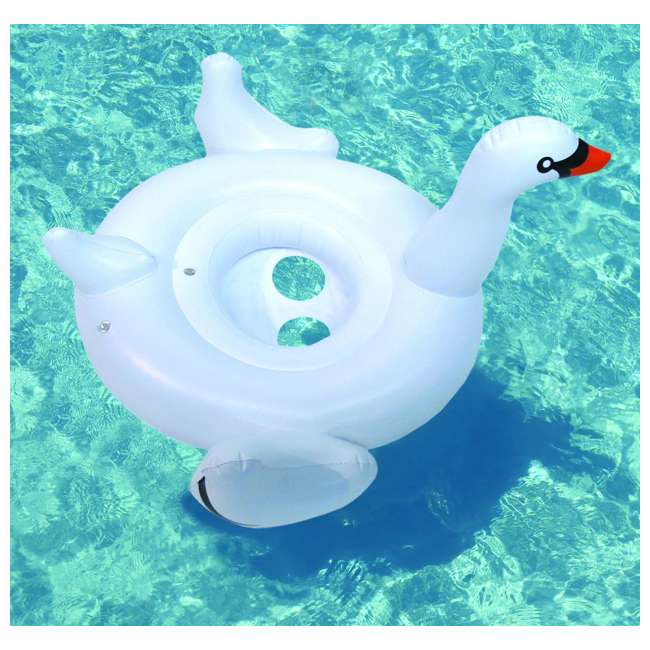 6 x 98400-U-A Swimline Inflatable Swan Swimming Pool Water Toy Seat Float (Open Box) (6 Pack) 2