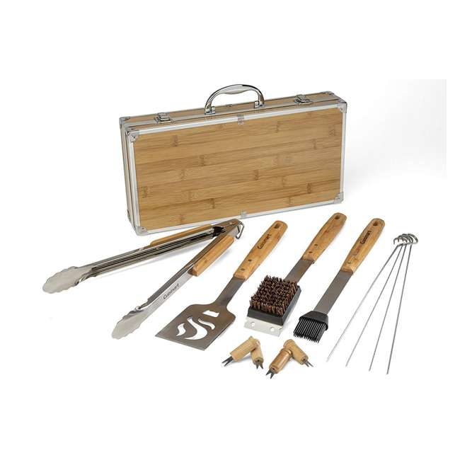 CGS-7014 Cuisinart CGS-7014 13 Piece Stainless Steel Grill Tools with Bamboo Handles Set