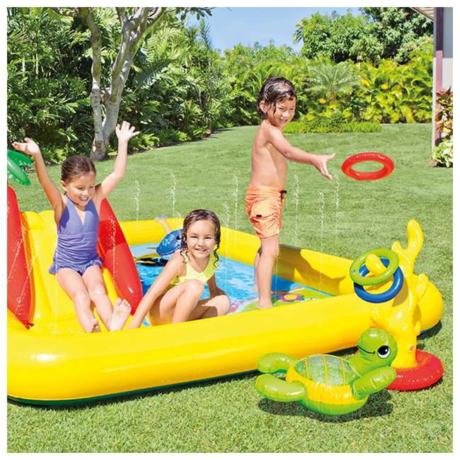 57454EP + 57453EP Intex Inflatable Ocean Kiddie Pool (2 Pack) & Intex Rainbow Ring Pool (2 Pack) 3