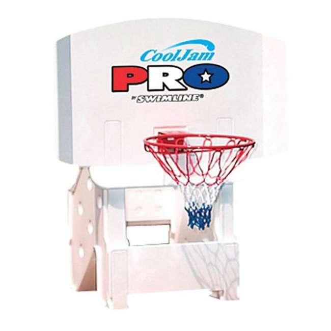 9195M + 9186 Swimline Super Wide Inground Swimming Pool Basketball Hoop & Volleyball Net 3
