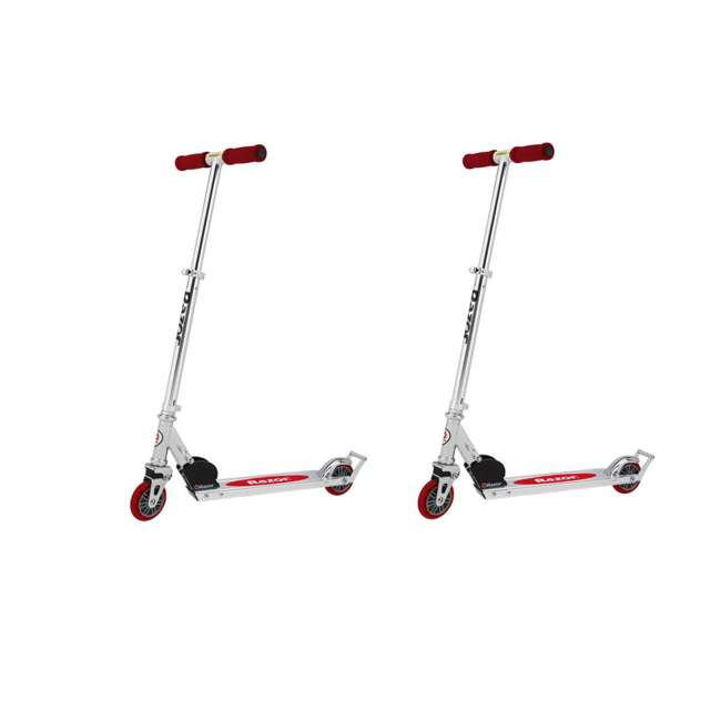 13003A2-RD Razor A2 Kids Folding Aluminum Portable Kick Push Wheeled Scooter, Red (2 Pack)
