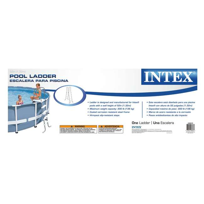 28067E + 87953 Intex Steel Frame Above Ground Pool Ladder + Protective Swimming Pool Ladder Mat 5
