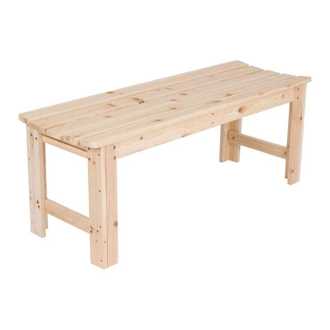 SHN-4204N Shine Company 4 Foot Backless Yellow Cedar Bench for Garden and Patio, Natural 2