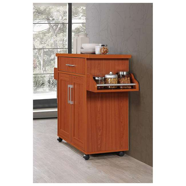 HIKF78 CHERRY Hodedah Wheeled Kitchen Island Cart with Spice Rack and Towel Holder, Cherry 5