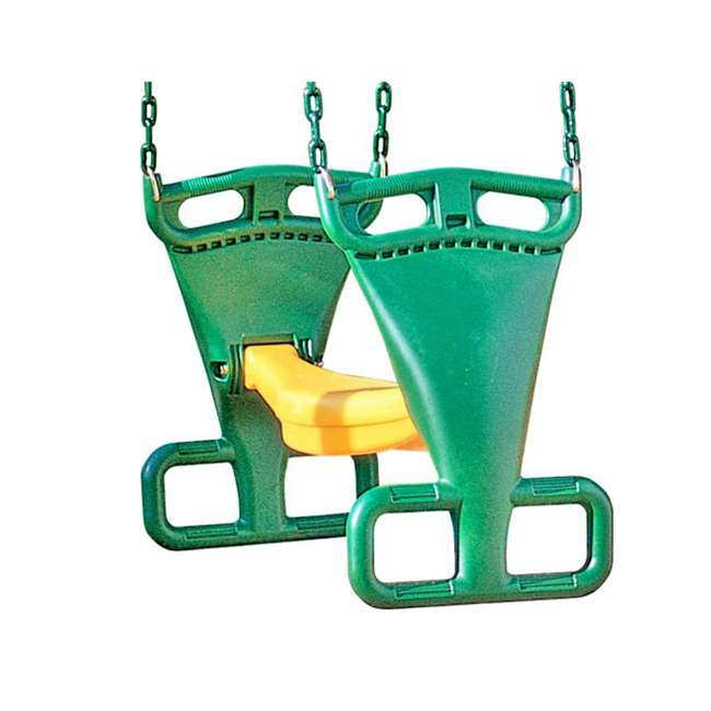 AA911-342 Creative Playthings AA911-342 Kids Swing Set Back-To-Back Glider w/ Chain, Green