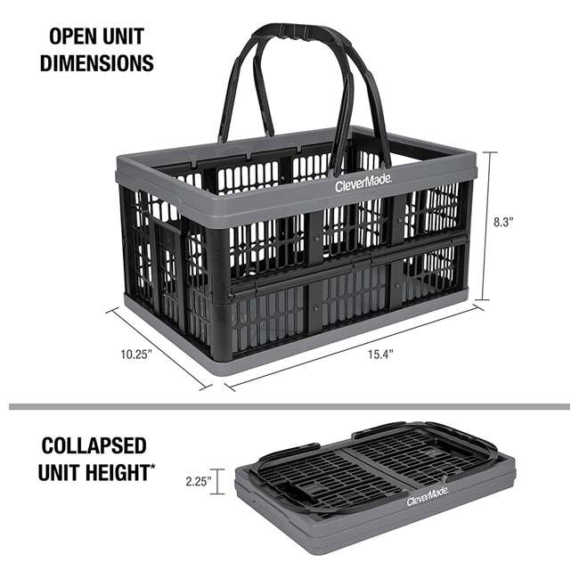 8031425-1533PK CleverMade CleverCrate 16 Liter Collapsible Shopping Basket, Charcoal (3-Pack) 1