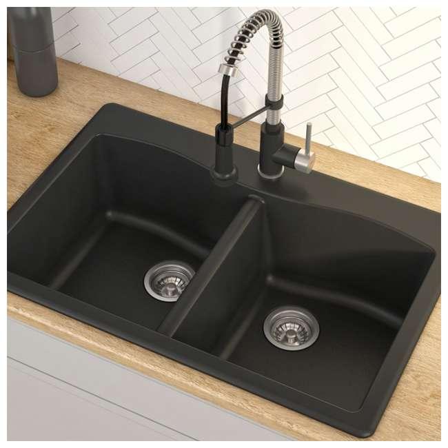 KGD-52BLACK Kraus Forteza 33-Inch Dual-Mount 50/50 Double Bowl Granite Kitchen Sink, Black 1