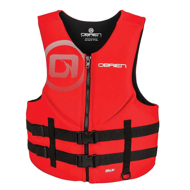 2181838-MW OBrien BioLite Series Traditional Mens Boating Life Vest Size XXL, Red (2 Pack) 1