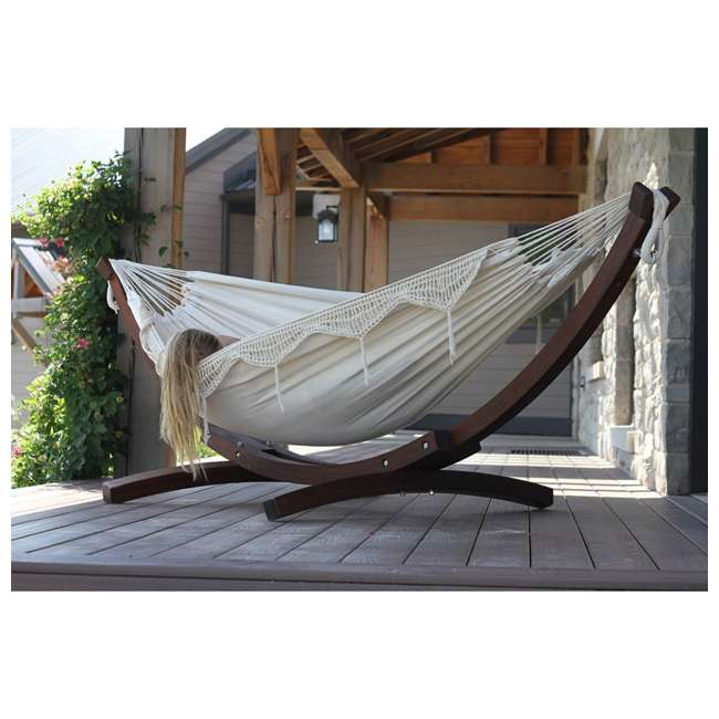 C8SPCT-31 Vivere Double Cotton 2-Person Hammock with Solid Pine Stand (2 Pack) 4