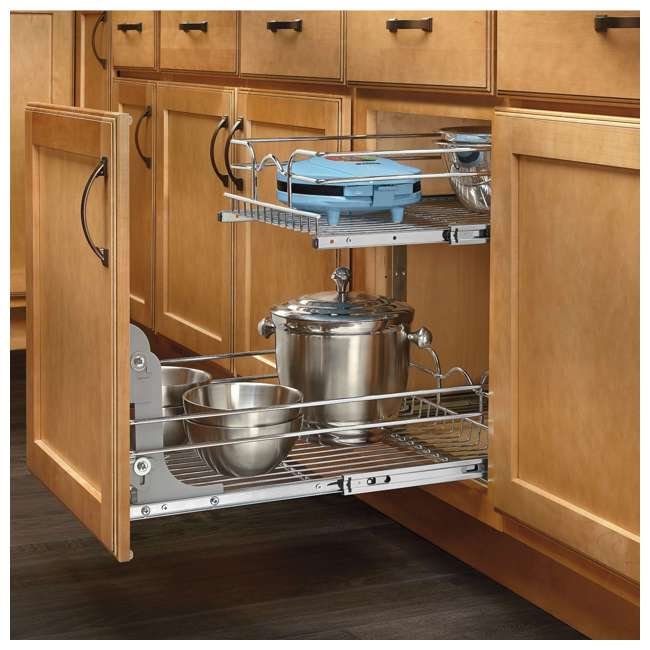 3 x 5WB2-1822-CR Rev-A-Shelf 18 Inch Pull Out 2 Tier Wire Baskets, Plated Chrome (3 Pack) 2