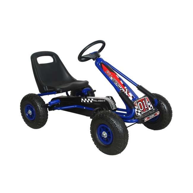 1 PGCBLU NextGen Pedal Go Cart for Children with Adjustable Seat & Pneumatic Tires, Blue