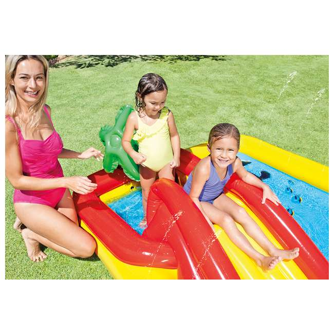 57454EP + 66619E Intex Ocean Play Center Kids Inflatable Wading Pool with Quick Fill Air Pump 1