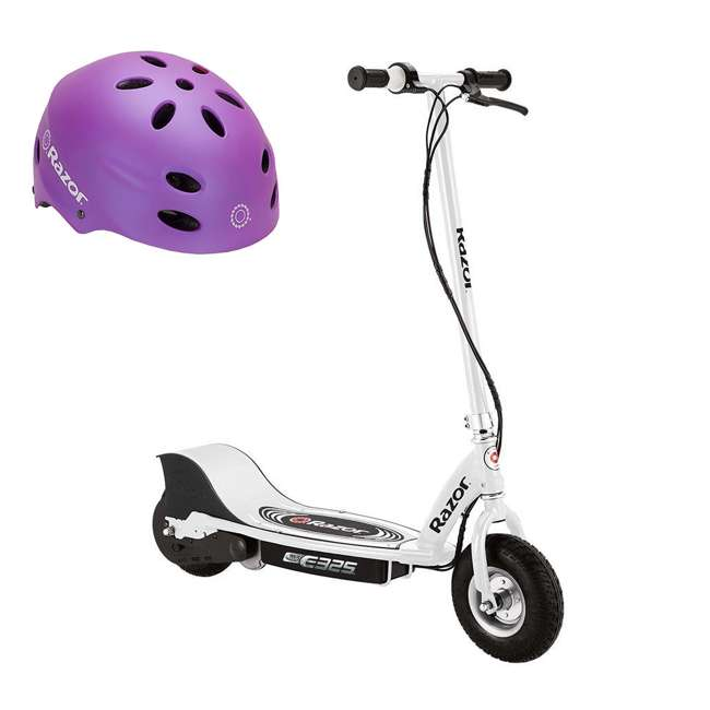 13116310 + 97961 Razor E325 Electric 24 Volt Scooter and V17 Youth Adjustable Helmet, Purple