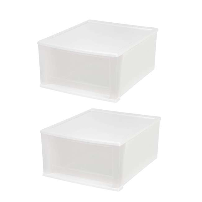 129957-2PK IRIS Medium 32 Qt Stackable Pull Out Clear Front Plastic Drawer, White (2 Pack)