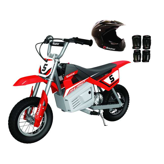 15128095 + 97775 + 96785 Razor MX350 Dirt Rocket Bike with Helmet, Elbow & Knee Pads