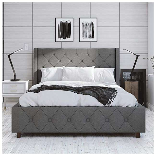 4238429 Dorel 4238429 CosmoLiving Mercer Upholstered Bed Frame Full Size, Gray Linen 4