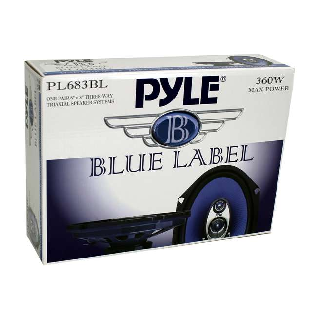 PL683BL Pyle PL683BL Blue Label 6x8-Inch 360W 3-Way Speakers (Pair) 6