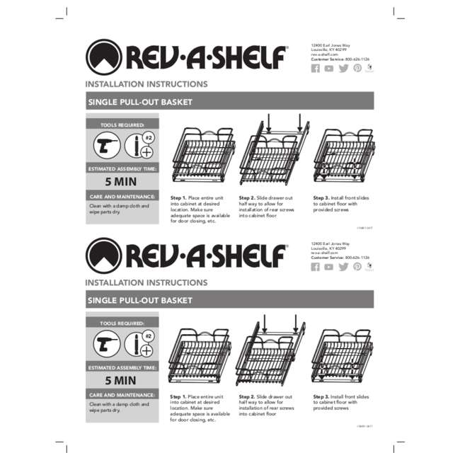 """5WB1-1220CR-1 Rev-A-Shelf 5WB1-1220CR-1 12"""" x 20"""" Single Kitchen Cabinet Pull Out Wire Basket 8"""