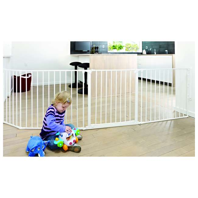 "BBD-56814-10400 BabyDan Flex Hearth 35.4-109.5"" XL Size Safety Baby Gate for Fireplace, White 3"