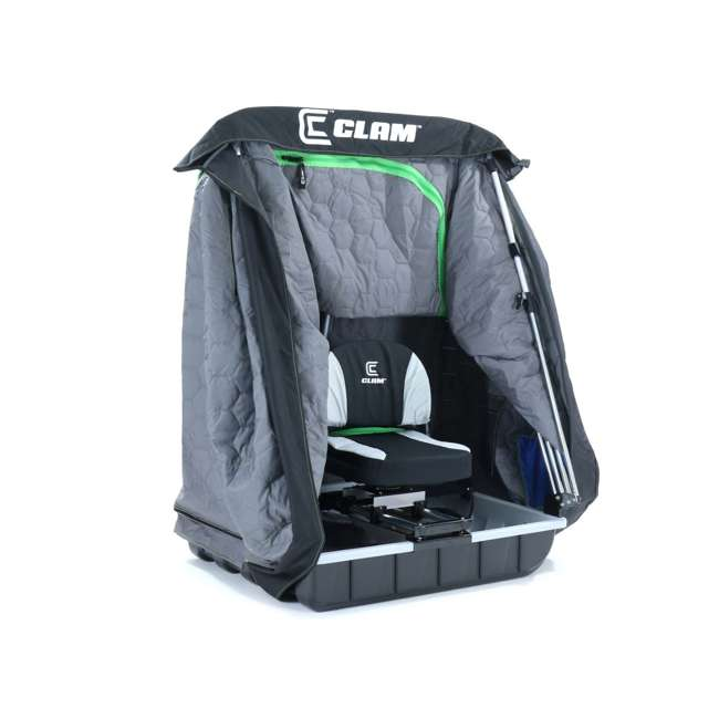 CLAM-10941 Clam 10941 Legend XL Thermal Ice Fishing Shelter with Deluxe Swivel Seat, Blue 5