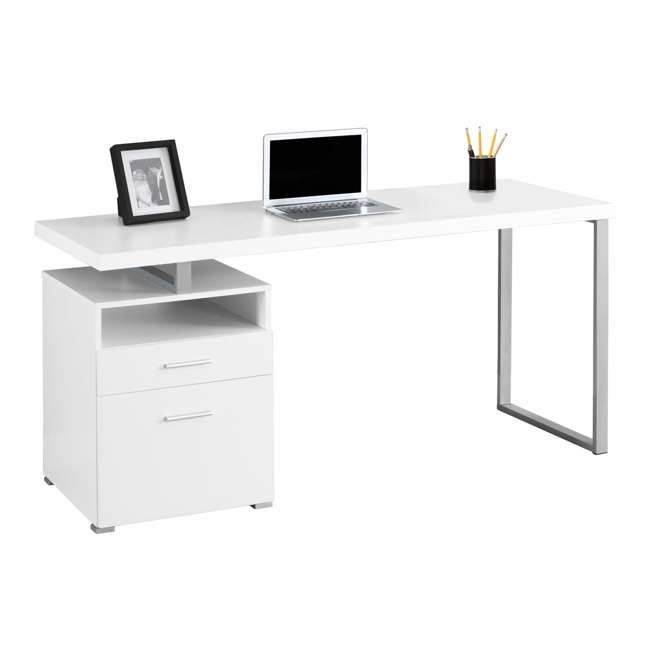 "MS-VM7144-U-B Monarch Specialties 60"" Contemporary Computer Desk with Drawer, White (Used)"