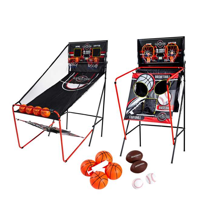 BBG019_018P Lancaster 2-Player Electronic Arcade 3-in-1 Basketball, Football, Baseball Game