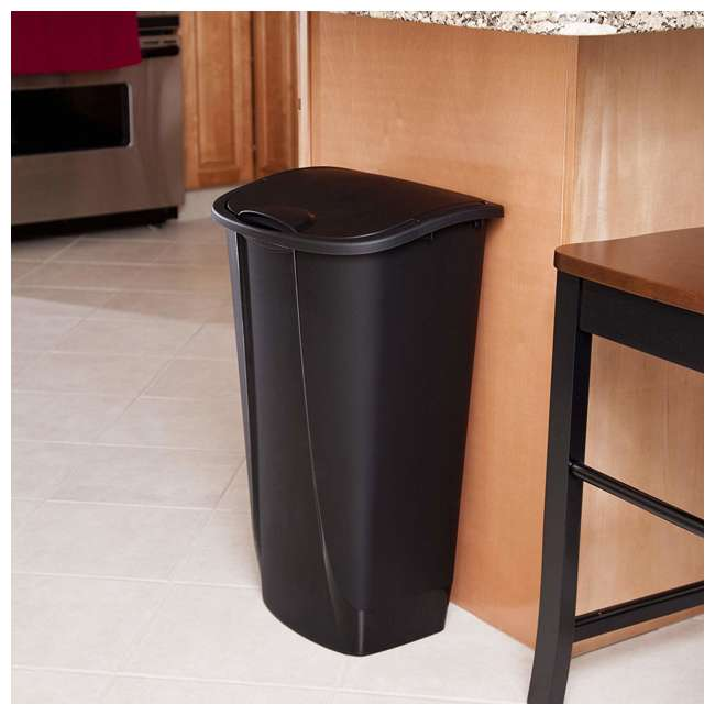 12 x 10939006-U-A Sterilite 11G SwingTop Clean Black Wastebasket Trash Can (Open Box) (12 Pack) 2