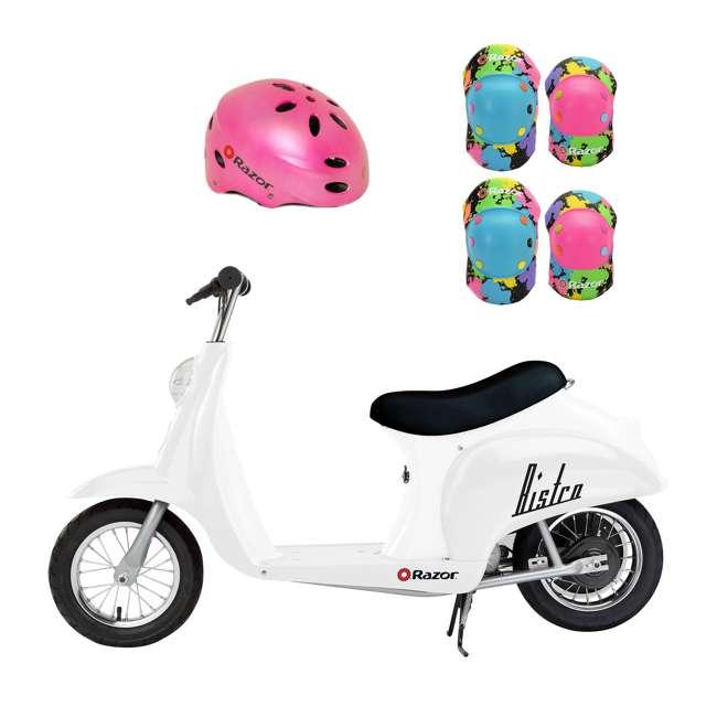 15130608 + 97783 + 96761 Razor Pocket Mod 24V Electric Retro Scooter, Kids Helmet, & Elbow & Knee Pads