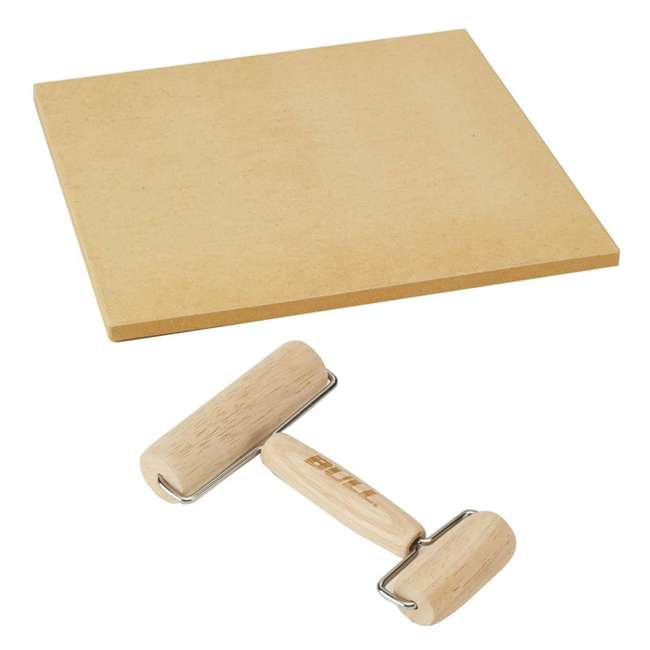 BOPA-24208 + BOPA-24223 Bull 15-Inch Square Pizza Stone, Brown & Double Dough Roller
