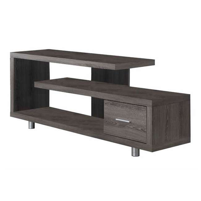 MS-VM2574-U-B Monarch Specialties 60 Inch Art Deco TV Stand with 1 Drawer, Dark Taupe (Used)