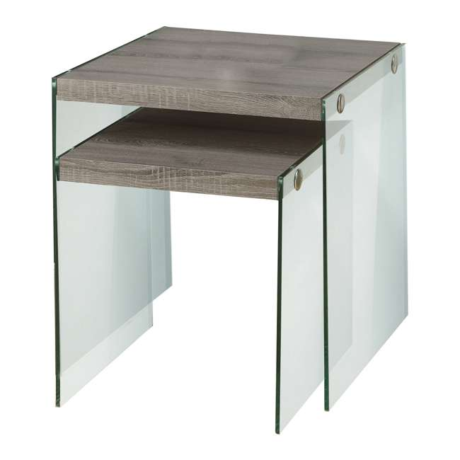 Monarch Specialties Tempered Glass Nesting End Tables, Dark Taupe :  MS VM3053