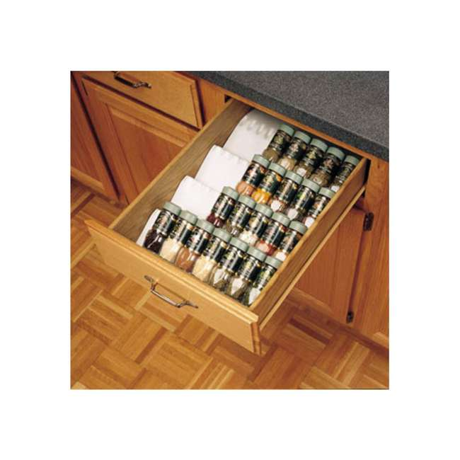 ST50-21W-52 Rev A Shelf Universal Spice Drawer Organizer Insert Tray, White (2 Pack) 2