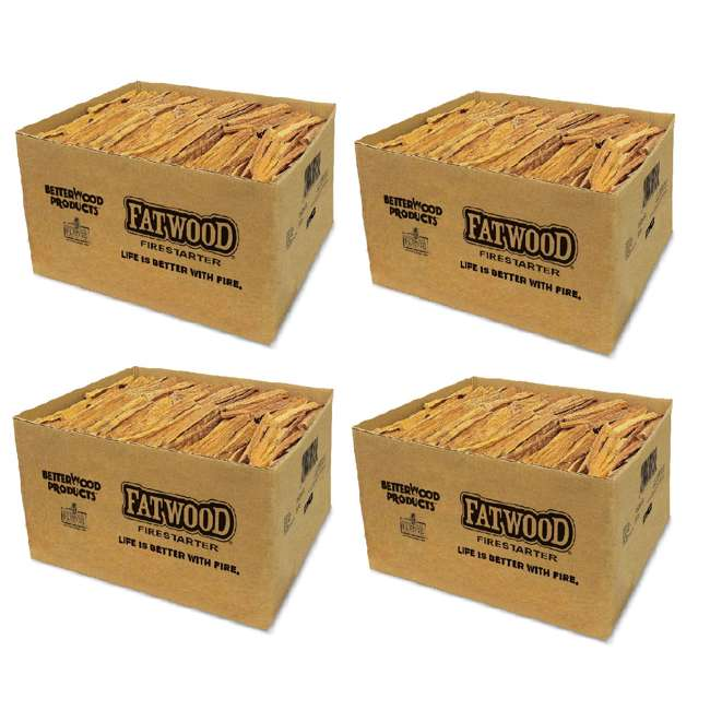 4 x BWP-09925 Betterwood Products Natural Hand Split Fatwood 25 Pound Firestarter (4 Pack)