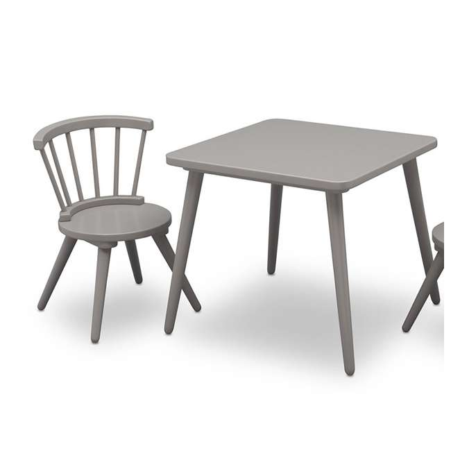 531300-026-U-A Delta Children Windsor Home Dining Table and 2 Chair Play Set, Grey (Open Box) 2