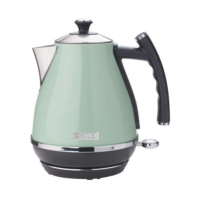 75008 Haden Cotswold 1.7 Liter Stainless Steel Body Retro Electric Kettle, Sage Green