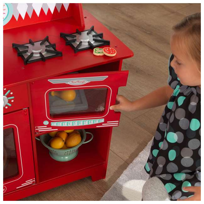 KDK-53362 KidKraft Classic Pretend Play Kitchenette Set, Red 5