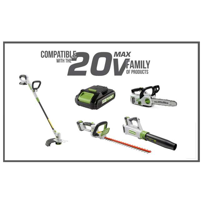 PGT120 + PLB12040 PowerSmith 20V Max Cordless Battery Powered Lawn String Trimmer w/ Extra Battery 9