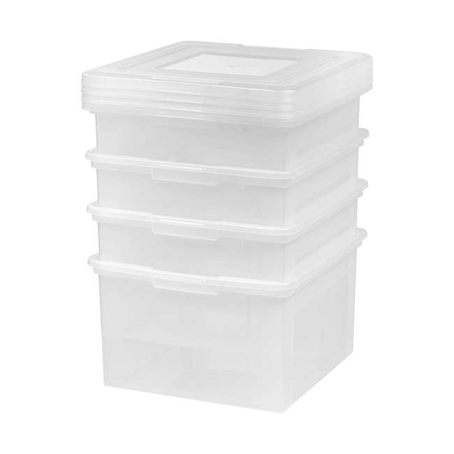 586490-4PK IRIS 586490 Clear Transparent Legal Size File Box Medium Dual Filter, Pack of 4