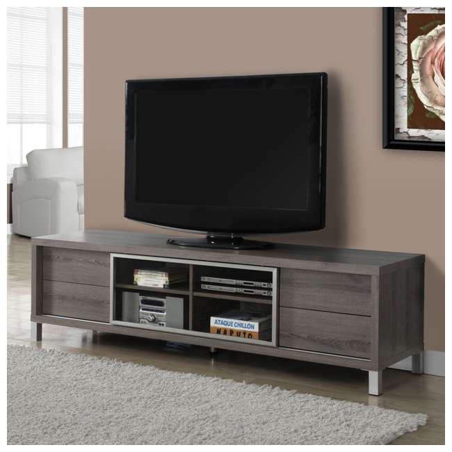 """VM-2536 Monarch Specialties 70"""" Dark Taupe Euro Style TV Entertainment Stand (2 Pack) 2"""